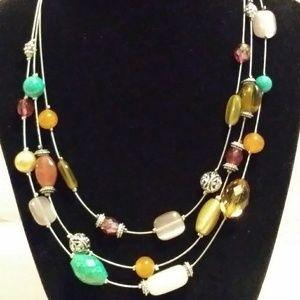 Lia Sophia 3 Strand Beaded Silver Wire Necklace